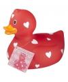 Valentijn rode badeend met hartjes 25 cm