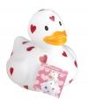 Valentijn witte badeend met hartjes 25 cm