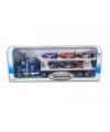 Vrachtauto blauw 50 cm met 6 autos