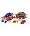 Vrachtwagen met auto op aanhanger speelgoed modelauto 1 60