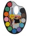 Waterverf met 12 kleuren en kwast