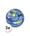 Wereldbol stuiterballen 3 stuks