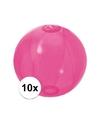 10x opblaasbare strandbal fel roze 30 cm