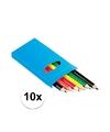 10x setje potloden 6 stuks gekleurd