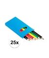 25x setje potloden 6 stuks gekleurd