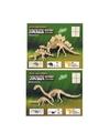 2x houten bouwpakket van een apatosaurus en stegosaurus