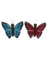 2x houten dieren magneten blauwe en roze vlinder