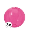 3x opblaasbare strandbal fel roze 30 cm
