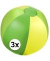 3x opblaasbare strandbal groen