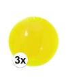 3x opblaasbare strandbal neon geel 30 cm