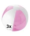 3x opblaasbare strandbal roze