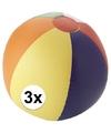 3x strandbal opblaasbaar multicolor