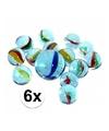 6 netjes glazen gekleurde knikkers