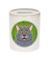 Grijze katten spaarpot voor kinderen 9 cm