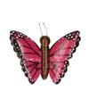 Houten magneet roze vlinder