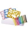 Kleurpakket met potloden en sjablonen