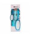 Poppen haarborstel set blauw 3 delig voor kinderen