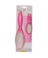 Poppen haarborstel set roze 3 delig voor kinderen