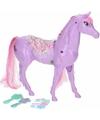 Poppen paard paars met 6 delige verzorgingsset