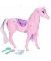 Poppen paard roze met 6 delige verzorgingsset