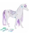 Poppen paard wit lila met 6 delige verzorgingsset