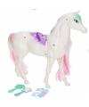 Poppen paard wit roze met 6 delige verzorgingsset