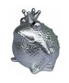 Spaarpot kikker koning zilver 18 cm type 2
