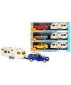 Speelgoed blauwe audi q7 auto met caravan 1 48