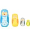 Speelgoed houten uilen matroesjka set